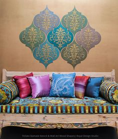 How to Stencil: Moroccan Dreams Wall Art Wood Shapes DIY Tutorial that you can do yourself! Stencil and paint Wall Art Wood Shapes from Royal Design Studio Moroccan Wall Art, Moroccan Theme, Room Wall Decor, Diy Wall Decor, Diy Home Decor, Bedroom Decor, Diy Wall Art, Wood Wall Art, Festa Tema Arabian Nights