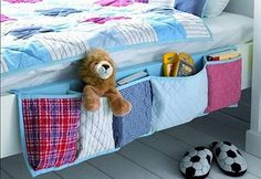 sewing idea: bed storage for boys room/kids room. love this idea its cute for decor and some/minimal storage! Bed Organiser, Bedside Organizer, Pocket Organizer, Hanging Organizer, Fabric Organizer, Shoe Organizer, Sewing Hacks, Sewing Crafts, Sewing Ideas