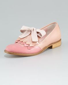 X1A70 RED Valentino Colorblock Kilty Smoking Slipper
