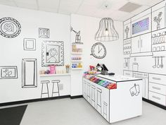 "The Candy Room in Melbourne, Australia: ""By using black lines on blank white space, the store's designers created a childlike, illusional depiction of a furniture-filled room. Even the fixtures and appliances are drawn onto the walls, allowing the rainbow of candy to be the visual star. Something tells us Mr. Wonka himself would approve."" Conde Nast Traveler"
