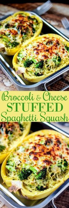Broccoli Cheese Stuffed Spaghetti Squash has only 314 calories per servings, is extremely delicious, and super easy to make! (Cheese Making Low Carb) Food Blogs, Healthy Meals, Healthy Eating, Healthy Recipes, Free Recipes, Eating Clean, Easy Recipes, Healthy Food, Vegetable Recipes