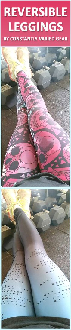 Reversible gym leggings, 2 in 1 workout leggings.  Skulls on one side, ombre on the other.
