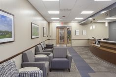 Alegent Lakeside Clinic in Omaha, Ne. Front entrance and waiting room. Framed art and architectural photography by Kurt Johnson. http://www...
