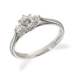 18ct White Gold Diamond Three Stone Ring DB4607 from Beaverbrooks the Jewellers