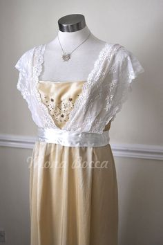 This could be a steampunk friendly bridesmaid or prom gown.  The period is turn of the century, so late enough to skip the corset, while still in the age of steam.  Edwardian Dress plus size handmade in England cream stone Titanic Downton Abbey vintage styled with lace and Swarovski crystals