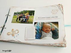 Ošúchaný detský fotoalbum, scrapbooking, scrapdesign, fotoalbum, DIY