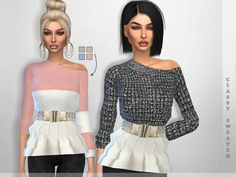 A classy sweater for your simmies. Found in TSR Category 'Sims 4 Female Everyday' Jumper Shirt, Sims 4 Clothing, Sims Mods, Sims Cc, Sweater Coats, Shirt Blouses, Shirts, Bell Sleeve Top, Sweaters For Women