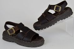 women's Skechers Jammers brown leather buckle strap slip on fisherman sandals 7 #Skechers #AnkleStrap #Casual