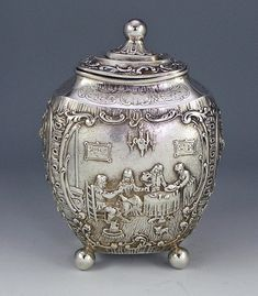 german silver oval figural tea caddy