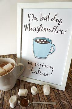 Handlettering vektorisieren mit Adobe Illustrator | Lettering | Ideen | Anleitung | Du bist das Marshmallow in meinem Kakao | Printable |  Gelbkariert