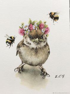 Watercolor Animals, Watercolor Flowers, Watercolor Paintings, Bee Art, Tatoo Art, Bird Illustration, Animal Paintings, Painting Inspiration, Painting & Drawing