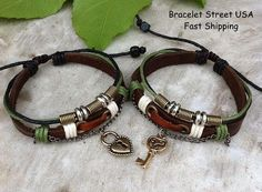 Couples Bracelet His Hers Key and Lock by BraceletStreetUSA