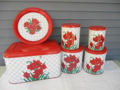 Nesting Canister Set - Set of 4 Red, White, Green Containers with Bread Box and Tray - Vintage 1950s Kitchen Tea Coffee Sugar