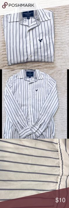 American Eagle Men's Button Down White and navy striped button down shirt. Vintage fit. A few small spots on the back seen in the picture American Eagle Outfitters Shirts