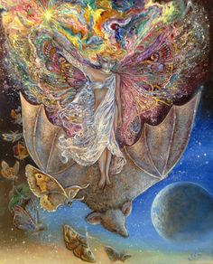 """On a  Bat's Back I Fly 2"" par Josephine Wall"