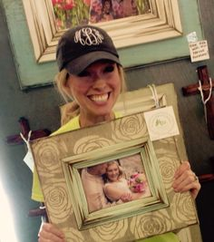 What a great smile on this happy customer!  The Frame Cottage of Wye Mountain. The Painted Tree Vintage Market, Bryant, AR. First Monday Trade Days,Canton, TX. Distressed, wooden picture frame.Texas Trade Days. Texas Trade Days Ap