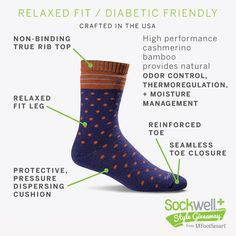 Enter to win a dozen pairs of circulation-boosting socks from Sockwell. Sockwell offers a variety of colors and styles for a fun lifestyle look. The sock featured is a relaxed fit, diabetic-friendly sock. It has a non binding true fit top, a relaxed fit leg, a reinforced toe and a seamless toe closure.