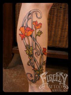 Art nouveau floral tattoo - Laura Black Firefly Tattoo Indianapolis Indiana