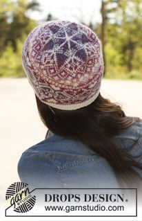 """Knitted DROPS hat with pattern in """"Delight"""" and """"Fabel"""". ~ DROPS Design. I wish I could knit!"""