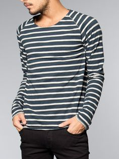Otto Raglan Sleeve Organic Melange Stripe Blue/Greymel - Nudie Jeans Co Online Shop