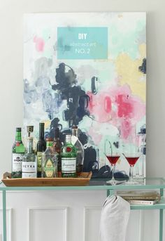DIY Abstract Art No. 2 - as seen on The Today Show!  Read more - http://www.stylemepretty.com/living/2013/07/10/diy-abstract-painting-no-2/