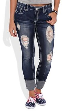 952975d5446 Love these jeans. Deb Shops Almost Famous Cuffed Skinny Jean with Heavy  Destruction Hydraulic Jeans