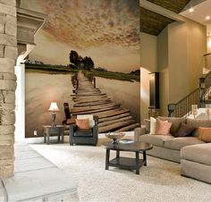 Autumn-Themed Wall Murals Celebrate the Season (Fres Home) Living Room Paint Design, Home Decor Wall Art, Room Decor, 3d Wallpaper Mural, Les Themes, Home Libraries, Bed Wall, Best Interior Design, Furniture Styles