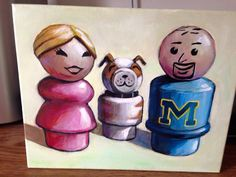 Me, my husband and puppy painted as Fisher Price Little People