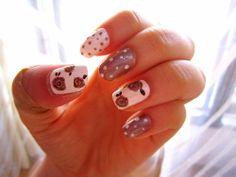 brown, white, roses, vintage, polka dot.