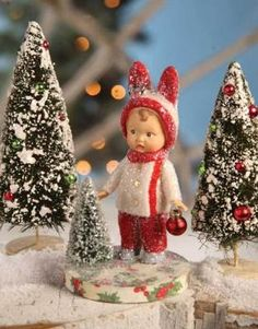 Christmas Figure and Bottle Brush Trees Noel Christmas, Merry Little Christmas, Victorian Christmas, Retro Christmas, Christmas Items, Christmas Images, Christmas Crafts, Christmas Decorations, Christmas Bunny