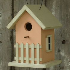 Birdhouse Cottage Garden Fence Peach by DoorCountyWoodworks