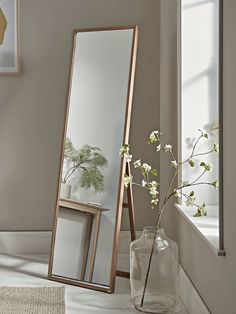 - Mirror Designs - Oak Full Length Standing Mirror NEW Oak Full Length Standing Mirror Original Pin. Room Ideas Bedroom, Home Decor Bedroom, Mirror For Bedroom, Full Length Mirror In Bedroom, Floor Length Mirrors, Full Body Mirror, Bedroom Furniture, Large Mirror Living Room, Master Bedroom