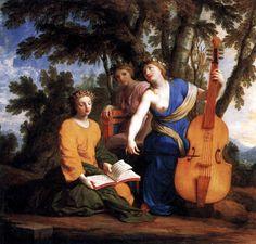 Eustache Le Sueur - The Muses Melpomene, Erato and Polyhymnia. Tags: muses, melpomene, erato, polyhymnia,