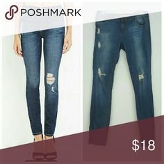 """Life In Progress Blue Distressed Skinny Jeans Five-pocket construction, zip fly. Woven. 99% cotton, 1 % spandex. This pair is slightly more distressed than the pair modeled. Size 27.  Waist 15.5"""", Rise 8"""", Inseam 31"""". Preloved, good condition. Forever 21 Jeans Skinny"""