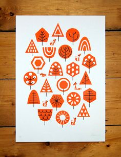 Foxy Forest Orange A3 Screenprint by peskimo on Etsy, £30.00