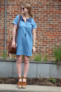 856e68754a Old Navy Cocoon Embroidered-Yoke Chambray Dress for Women