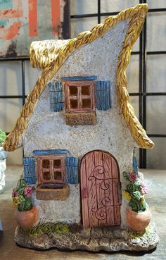 Merrifield House is one that the fairies will flock to. House measures approximately tall. Pebble Painting, Pebble Art, Stone Painting, House Painting, Rock Painting, Clay Fairy House, Fairy Garden Houses, Rock Crafts, Diy And Crafts
