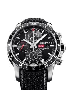 Chopard Mille Miglia GMT Chrono 2012    Inspired by the dashboard instruments of classic racing cars, the latest stainless steel Mille Miglia model boasts superior readability with oversized chronograph counters at 12 and 6 o'clock. The 42mm case comes on a rubber Dunlop Racing strap with tyre-tread motif. Price: $6,610