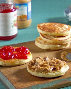 Freeze leftover pancakes and use them to make tasty on-the-go breakfast sandwiches -- PB and J Pancakes Recipe