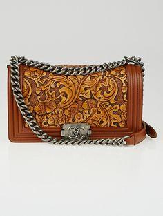 Chanel Brown Embossed Leather Cordoba Medium Boy Bag