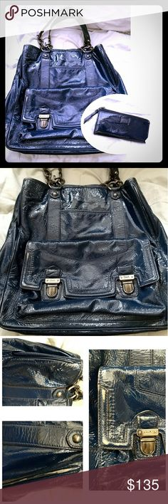 """Coach XL Dark Blue patient leather duffle & wallet Good used condition. Can hold a lot with many pockets. There are only few small scuffs on the front, other than that it's a great used condition bag.  Perfect size for iPad or laptop for work or school The wallet is excellent condition, barely used it. 13""""L x 16""""x 4.25"""" Coach Bags"""