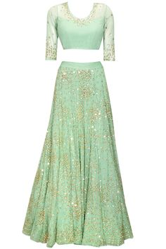 Mint green sequins and beads embroidered lehenga set by Astha Narang. Shop at: http://www.perniaspopupshop.com/designers/astha-narang #lehenga #clothing #asthanarang #perniaspopupshop #shopnow
