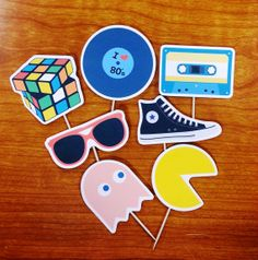 I love the 80's Cupcake Toppers. by Beescreations13 on Etsy, $10.00