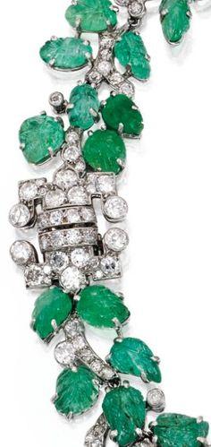 Art Deco emerald and diamond leaf necklace/bracelet, necklace, choker, bracelet, bangle, cuff, carved emerald, leaf, vine, antique jewelry, Art Deco, wreath, garland, diamonds, ice, frost