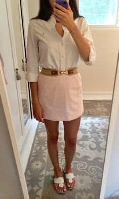 southernclass-countrysass:  takemetovirginia:  wishinyouthelillylife:  Shirt: Ralph Lauren Skirt: Thrifted Belt: J.Crew Shoes: Jack Rogers  I love that skirt!  this is absolute perfection