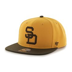 93537333a1a0b6 San Diego Padres Sure Shot Two Tone Captain Gold 47 Brand Adjustable Hat
