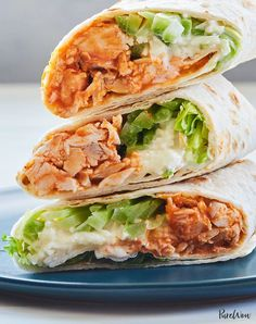Buffalo Chicken Wraps with Blue Cheese and Celery — PureWow Buffalo Chicken Wraps mit Blauschimmelkäse und Sellerie Buffalo Chicken Wraps, Chicken Recipes For Kids, Leftover Chicken Recipes, Easy Dinners For One, No Heat Lunch, Boite A Lunch, Healthy Sandwiches, No Cook Meals, Crockpot