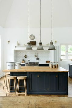2017: The Color Blue (up 80 percent): Is this a sign that we're breaking away from Scandi white interiors? Goodbye, gray shaker cabinets. Everyone is pinning navy and deep blue tones now in record numbers. (via deVOL Kitchens)navy-kitchen