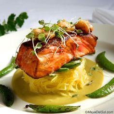 pescado del dia | pan seared halibut · spaghetti squash · snow peas · coconut mole  |  www.mayadelsol.com