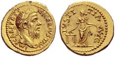 Pescennius Niger (193-194). Aureus, 7.23 g, Caesarea Cappadociae, June 193-end of 194. IMP CΛES PESC – NIGER IVST ΛVG. Laureate head right. / IVSTI – TIΛ ΛVG. Iustitia facing, head left, holding scales and cornucopiae. C –, cf. 46. BMC – cf. 305 note. RIC –, cf. 48a. Bland, Burnett and Bendall NC 1987, –, cf. p. 70, 1 and pl. 10, 1 var. Calicó 2408 var. NAC84, 1053. Among the finest aurei of this brief reign known and a masterpiece of late 2nd century portraiture.